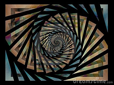 Black Gold Blue Spiral Pattern