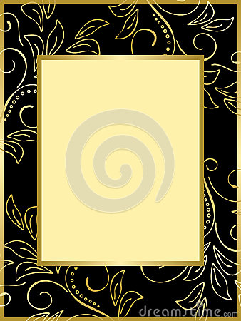 Black and gold card with floral background - eps