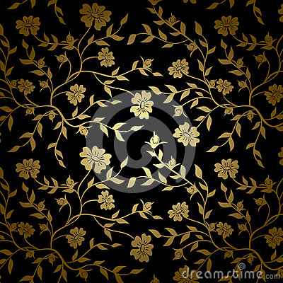 black and gold vector floral texture for backgroun stock