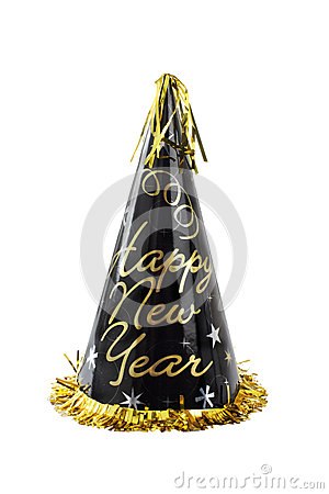 Black and gold Happy New Year party hat