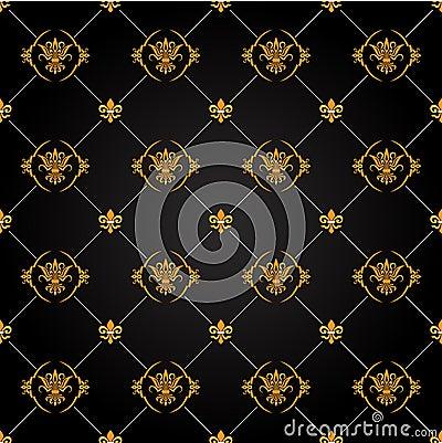 black and gold tile floor - Kaneva Pattern