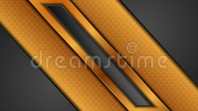 Black and golden abstract tech motion background with glossy stripes stock footage
