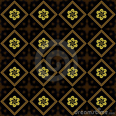 Black and golden vector texture with rhombuses