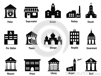 Black government building icons set Vector Illustration