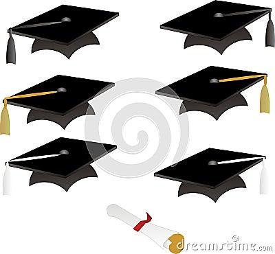 Black graduation caps