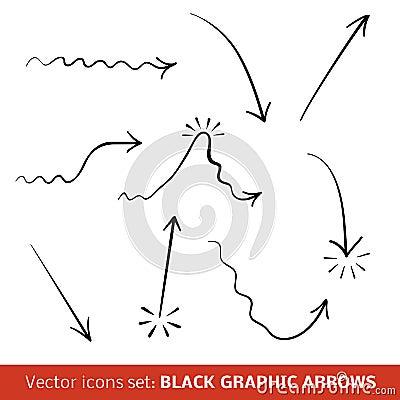 Black graphic arrows set. Vector illustration