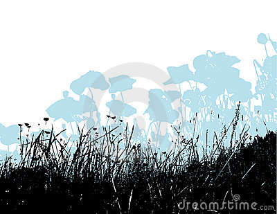 Black grass with light blue poppy flowers. Vector