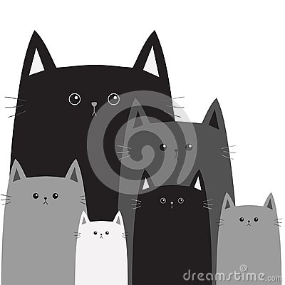 Free Black Gray Cat Head Face. Different Size Big Small Middle. Cats In The Corner. Cute Cartoon Funny Character Family Set. Pet Baby C Royalty Free Stock Images - 101607889