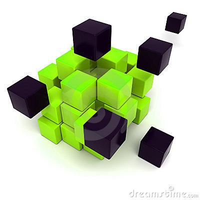 Black and green cubic background
