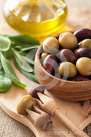 Black And Green Marinated Olives Oil Sage Leaf Stock Photo - Image ...
