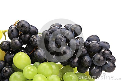 Black and green ripe grapes.