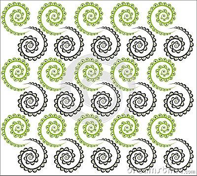 Drunkard's Path Place Mat - Black and Green Pattern