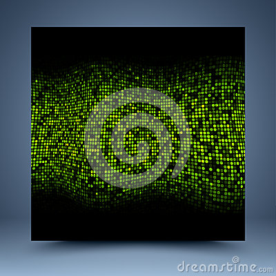 Black and green mosaic abstract background Vector Illustration