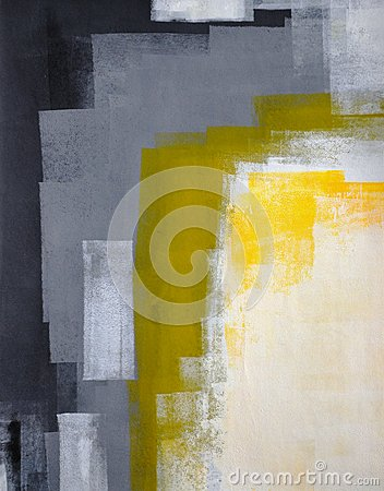 Free Black, Grey And Yellow Abstract Art Painting Stock Photos - 26784223