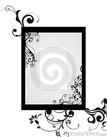 Black grey frame floral patterns
