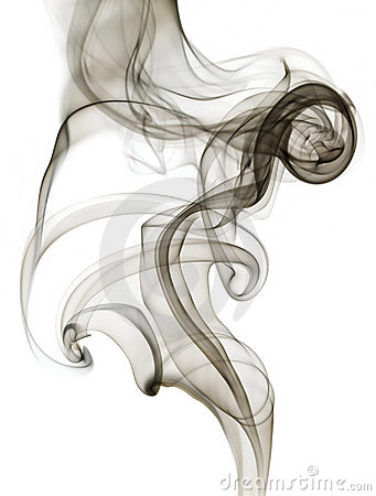 Black grey swirling smoke isolated