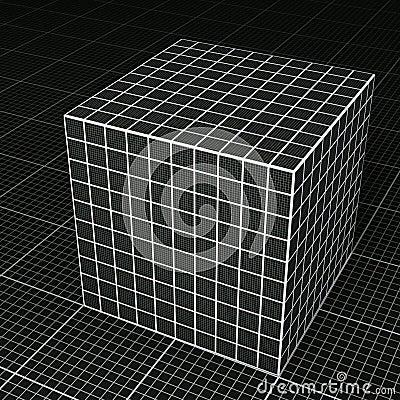 Black grid paper cube on black grid paper floor