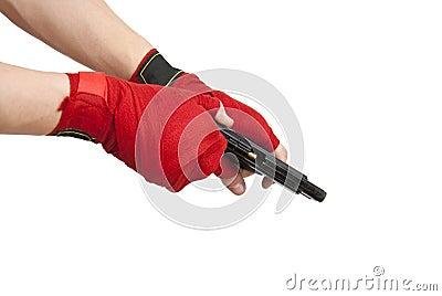 Black gun in a hand