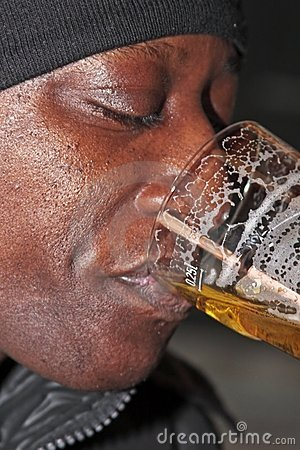 Black guy drinking beer
