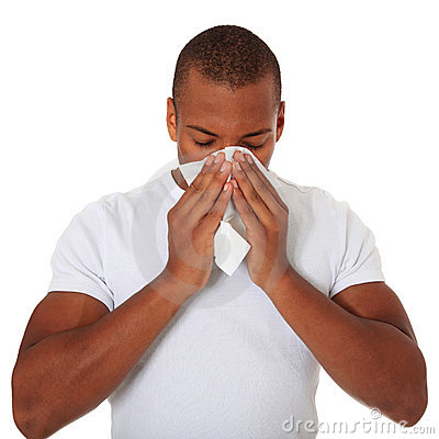 Black guy using tissue