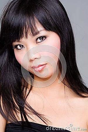 Black hair asian woman