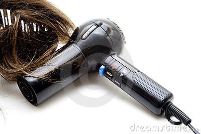 Black hair drier with wig