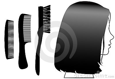 Black hair female face profile combs brush