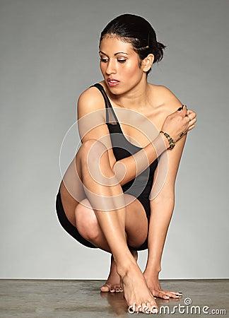 Black hair figurative woman-01