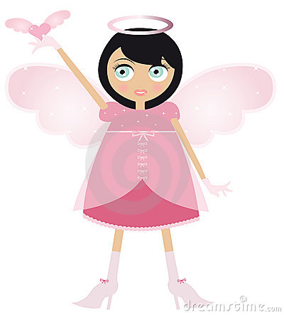 Black Haired Fairy Woman In A Pink Dress