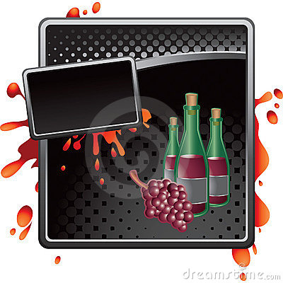 Black halftone grungy ad wine bottles and grapes