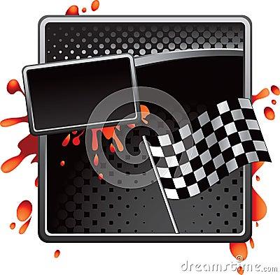 Flag Auto Racing Nascar Symbol on Stock Photo  Black Halftone Racing Checkered Flag Advertisement  Image