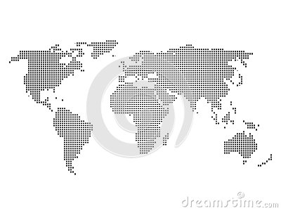 Black halftone world map of small dots in linear arrangement. Simple flat vector illustration on white background Vector Illustration