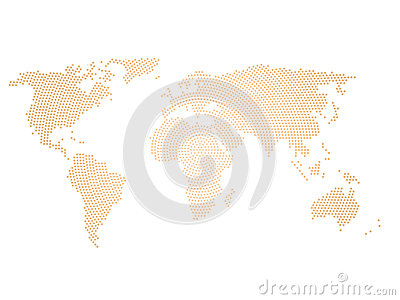 Black halftone world map of small dots in radial arrangement. Simple flat vector illustration on white background Vector Illustration