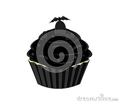 Black Halloween cupcake
