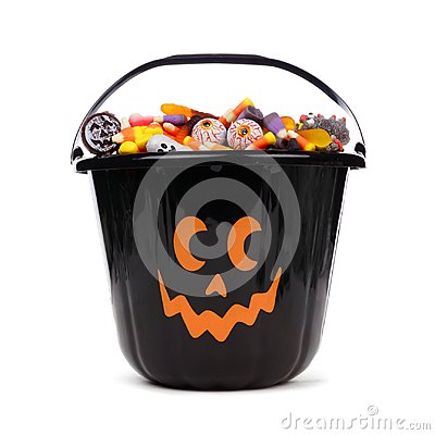 Free Black Halloween Jack O Lantern Candy Collector Over White Royalty Free Stock Images - 99013719
