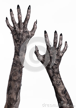 Free Black Hand Of Death, The Walking Dead, Zombie Theme, Halloween Theme, Zombie Hands, White Background, Mummy Hands Stock Photo - 49233020