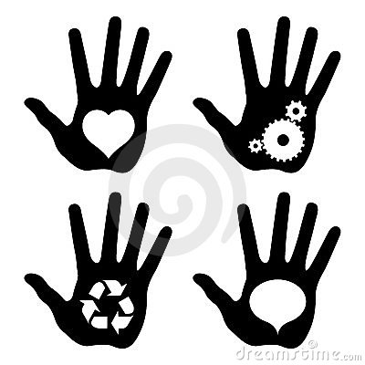 Black hand prints with idea symbols
