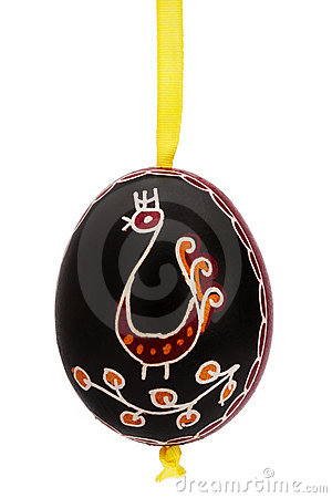 Black hanging hand painted easter egg