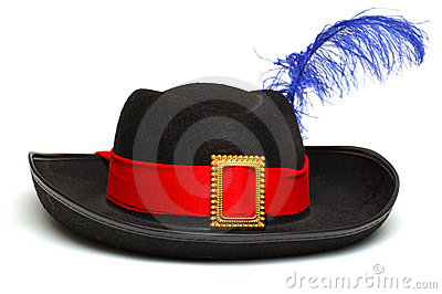 Black hat with feather and ribbon