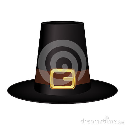 Black hat with a gold buckle on white background Vector Illustration