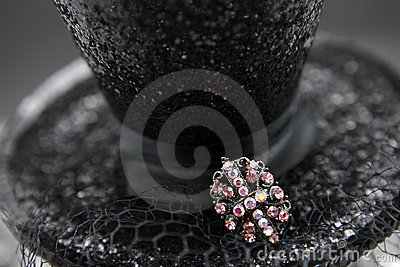 Black Hat with Pink Pin