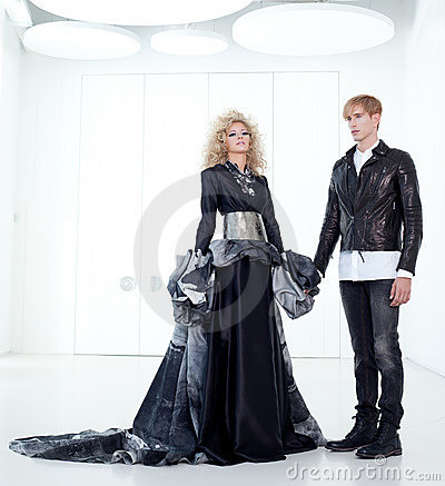 Black haute couture retro futurist couple