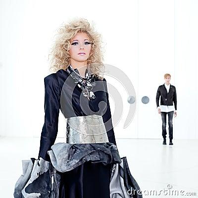Black haute couture retro futurist couple