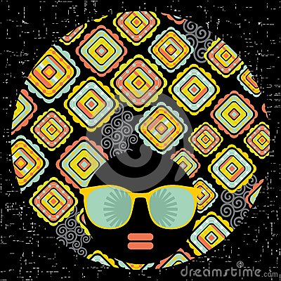 Black head woman with strange pattern hair.