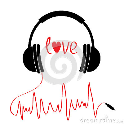 Black headphones icon with red cord in shape of cardiogram. . Love card. Text heart. Flat design. White background. Vector Illustration