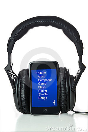 Black Headphones and mp3 player