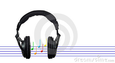 Black headphones with musical score