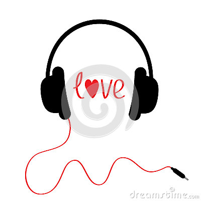 Black headphones with red cord. Isolated. Love car Vector Illustration