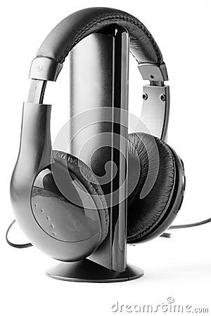 Black headphones on the stand