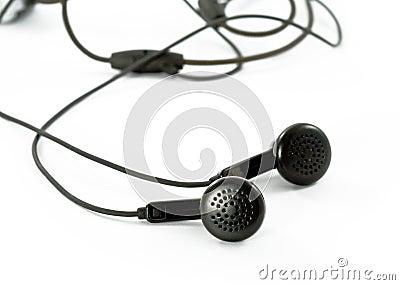 Black headphones on white